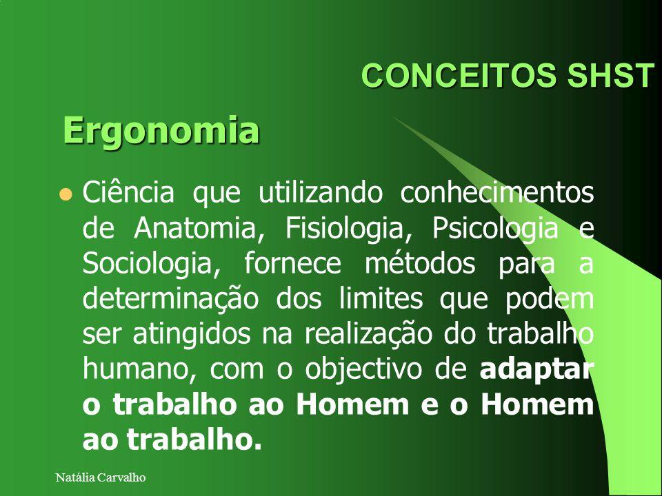 Natália Carvalho CONCEITOS SHST Ciência que utilizando conhecimentos de Anatomia, Fisiologia, Psicologia e Sociologia, fornece métodos para a determin