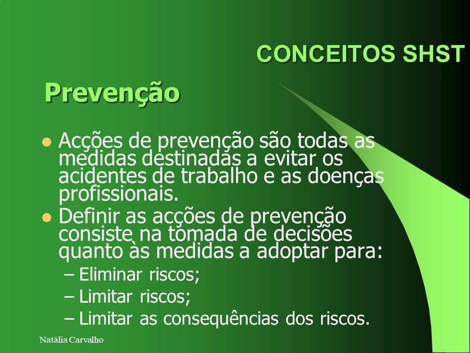 Natália Carvalho CONCEITOS SHST Acções de prevenção são todas as medidas destinadas a evitar os acidentes de trabalho e as doenças profissionais. Defi
