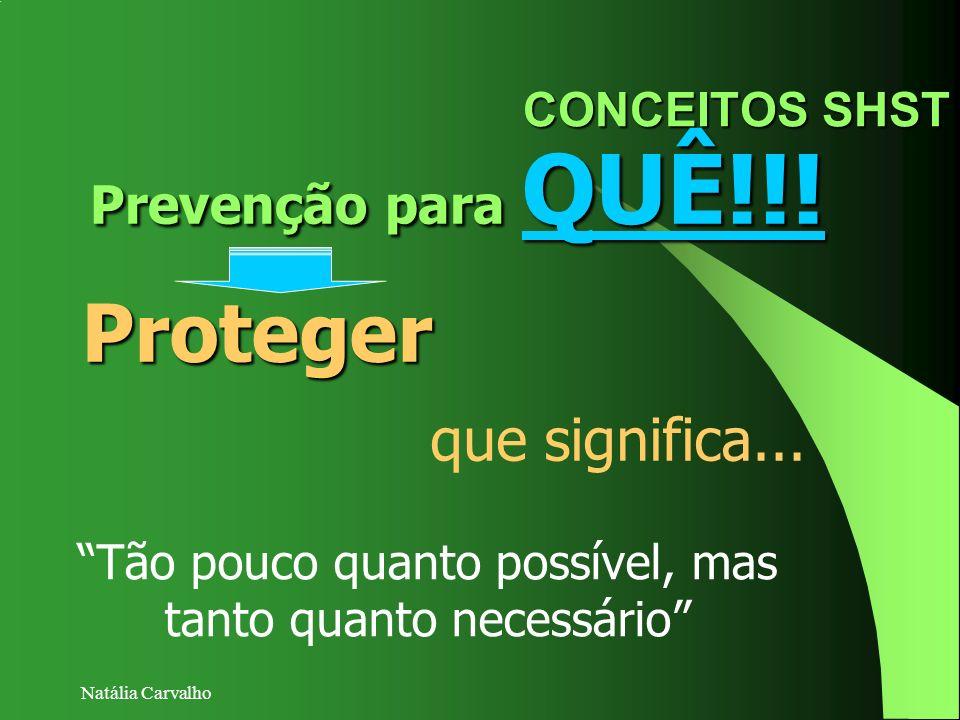 Natália Carvalho CONCEITOS SHST Prevenção para QUÊ!!! Proteger Tão pouco quanto possível, mas tanto quanto necessário que significa...