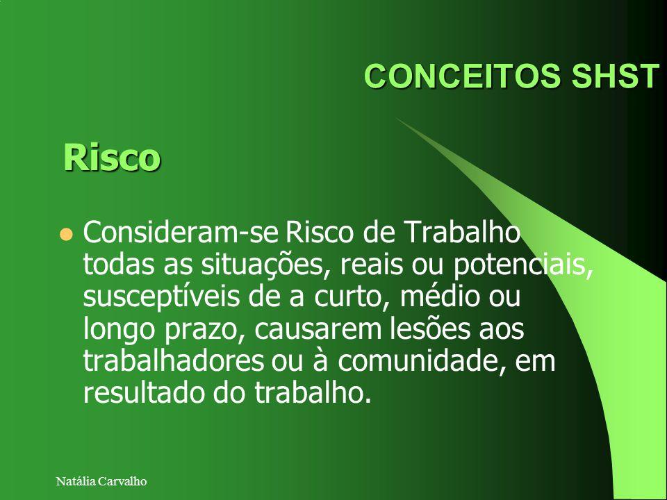Natália Carvalho CONCEITOS SHST Consideram-se Risco de Trabalho todas as situações, reais ou potenciais, susceptíveis de a curto, médio ou longo prazo
