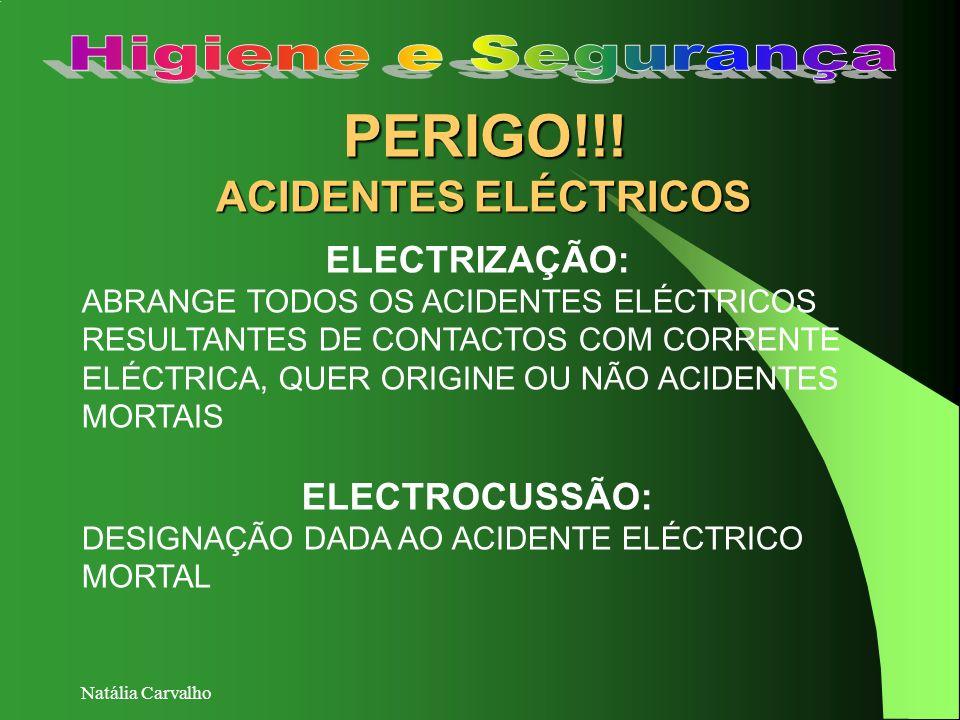 Natália Carvalho PERIGO!!! ACIDENTES ELÉCTRICOS ELECTRIZAÇÃO: ABRANGE TODOS OS ACIDENTES ELÉCTRICOS RESULTANTES DE CONTACTOS COM CORRENTE ELÉCTRICA, Q