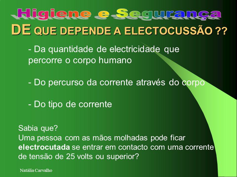 Natália Carvalho DE QUE DEPENDE A ELECTOCUSSÃO ?? - Da quantidade de electricidade que percorre o corpo humano - Do percurso da corrente através do co