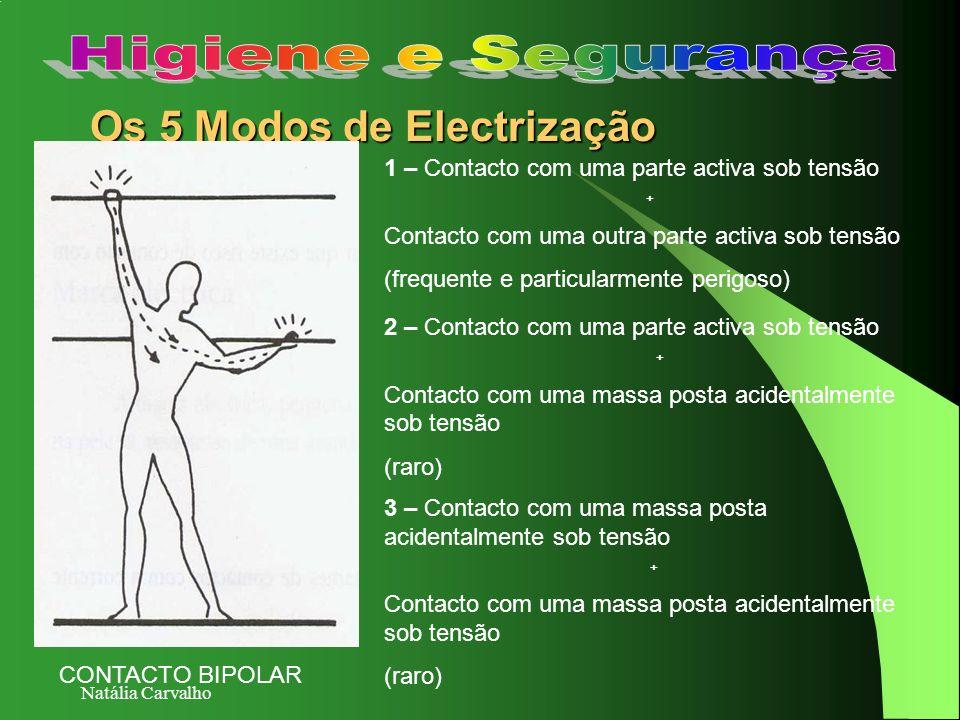 Natália Carvalho Os 5 Modos de Electrização 1 – Contacto com uma parte activa sob tensão + Contacto com uma outra parte activa sob tensão (frequente e