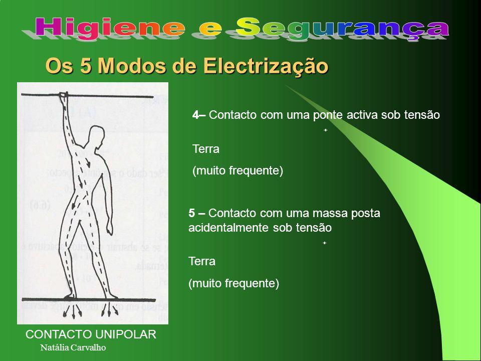 Natália Carvalho Os 5 Modos de Electrização 4– Contacto com uma ponte activa sob tensão + Terra (muito frequente) 5 – Contacto com uma massa posta aci