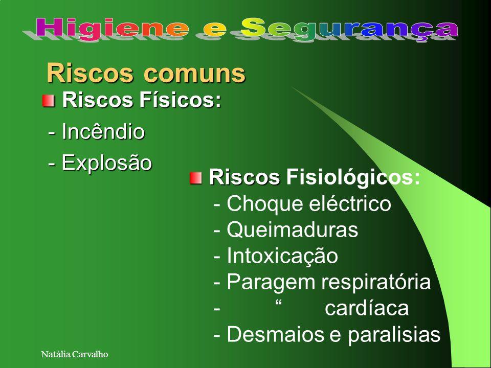 Natália Carvalho Riscos comuns Riscos Riscos Fisiológicos: - Choque eléctrico - Queimaduras - Intoxicação - Paragem respiratória - cardíaca - Desmaios