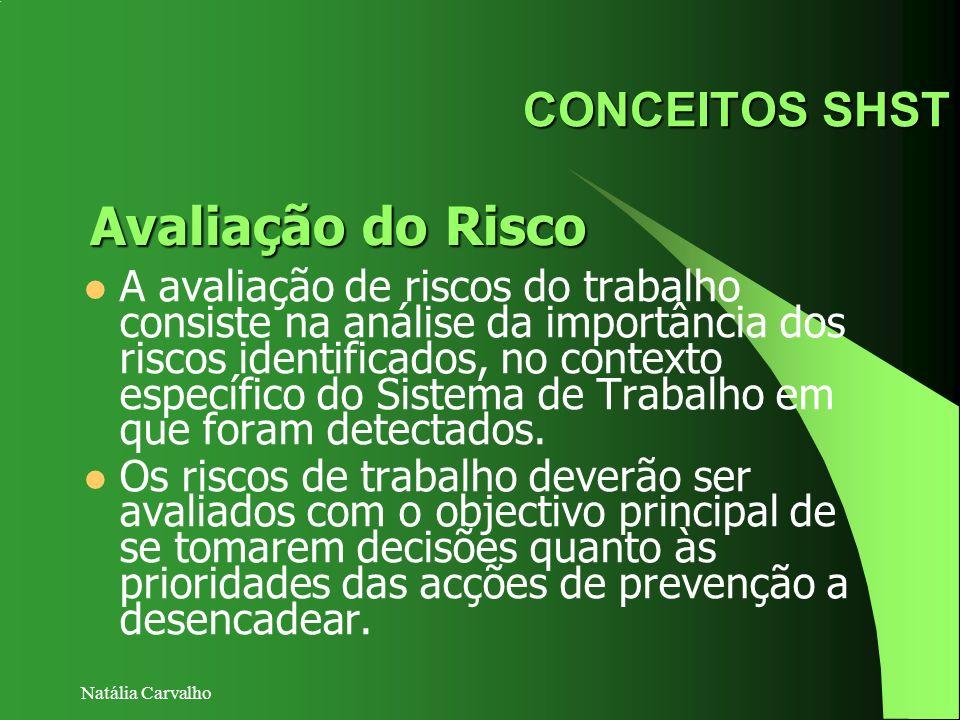 Natália Carvalho CONCEITOS SHST A avaliação de riscos do trabalho consiste na análise da importância dos riscos identificados, no contexto específico