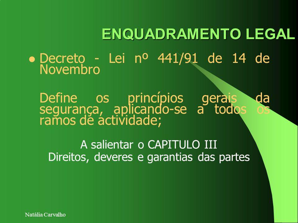 Natália Carvalho ENQUADRAMENTO LEGAL Decreto - Lei nº 441/91 de 14 de Novembro Define os princípios gerais da segurança, aplicando-se a todos os ramos