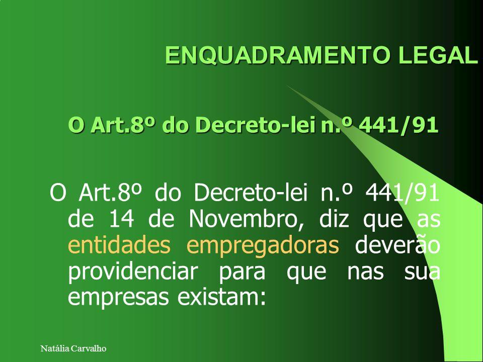 Natália Carvalho O Art.8º do Decreto-lei n.º 441/91 de 14 de Novembro, diz que as entidades empregadoras deverão providenciar para que nas sua empresa