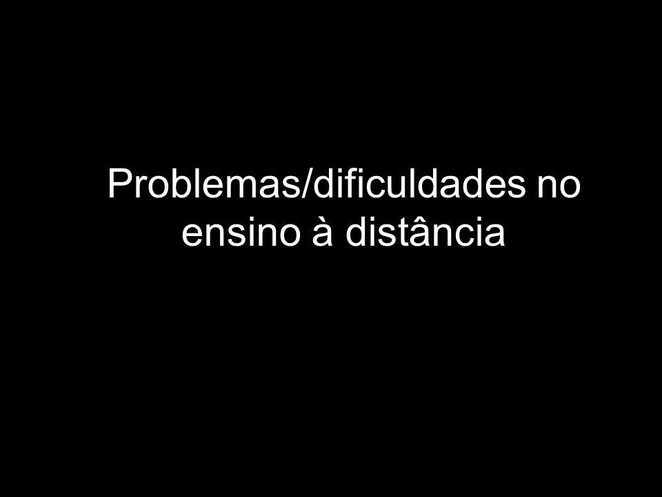Problemas/dificuldades no ensino à distância