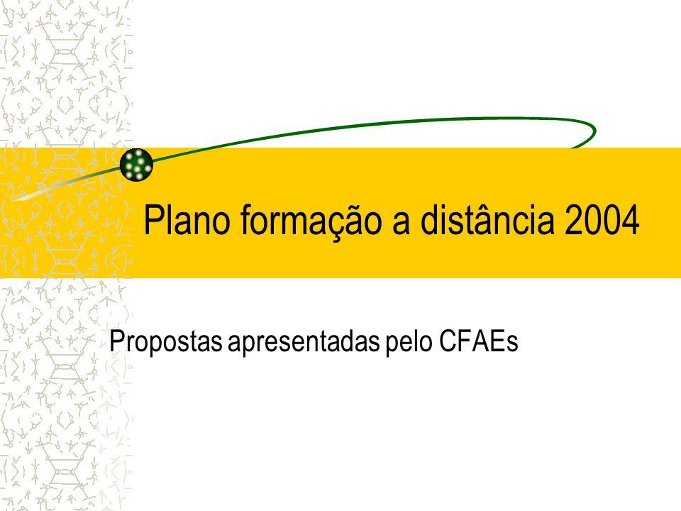 Plano formação a distância 2004 Propostas apresentadas pelo CFAEs