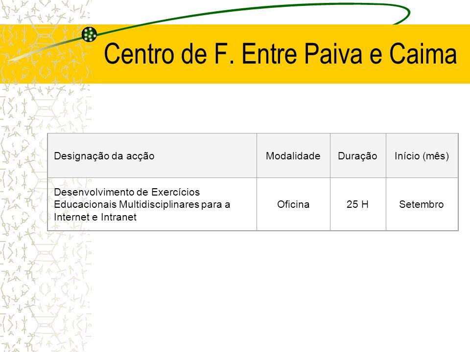 Centro de F. Entre Paiva e Caima Designação da acçãoModalidadeDuraçãoInício (mês) Desenvolvimento de Exercícios Educacionais Multidisciplinares para a