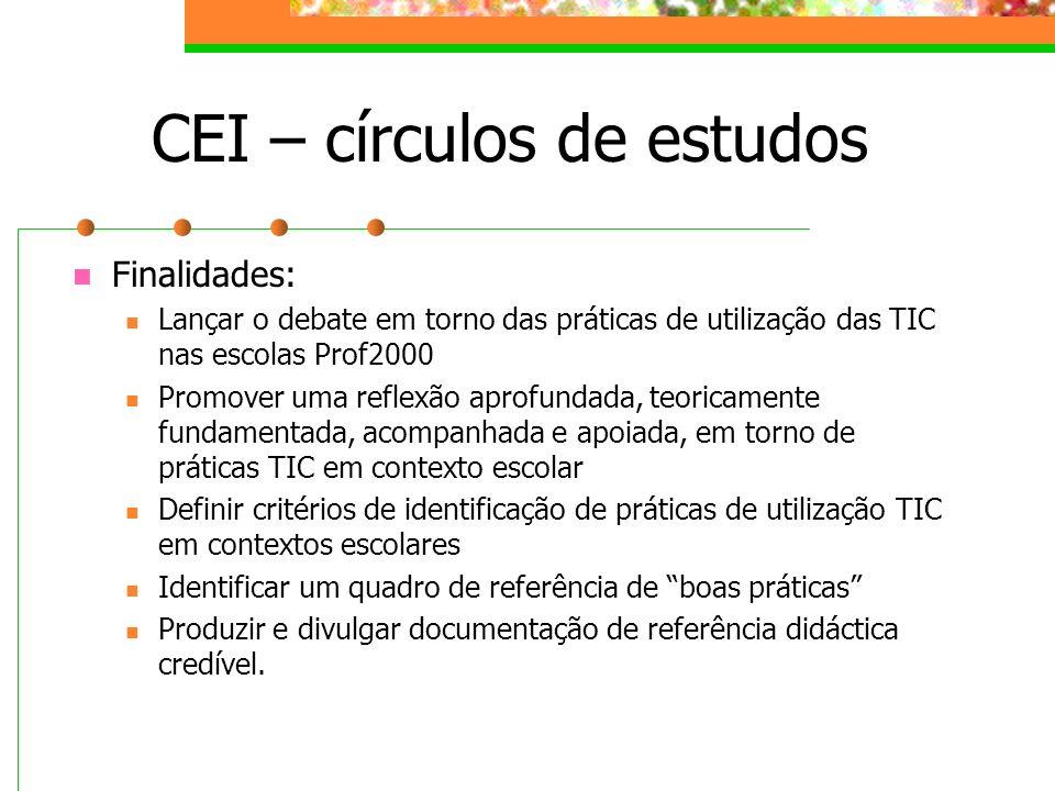 CEI – círculos de estudos Finalidades: Lançar o debate em torno das práticas de utilização das TIC nas escolas Prof2000 Promover uma reflexão aprofund