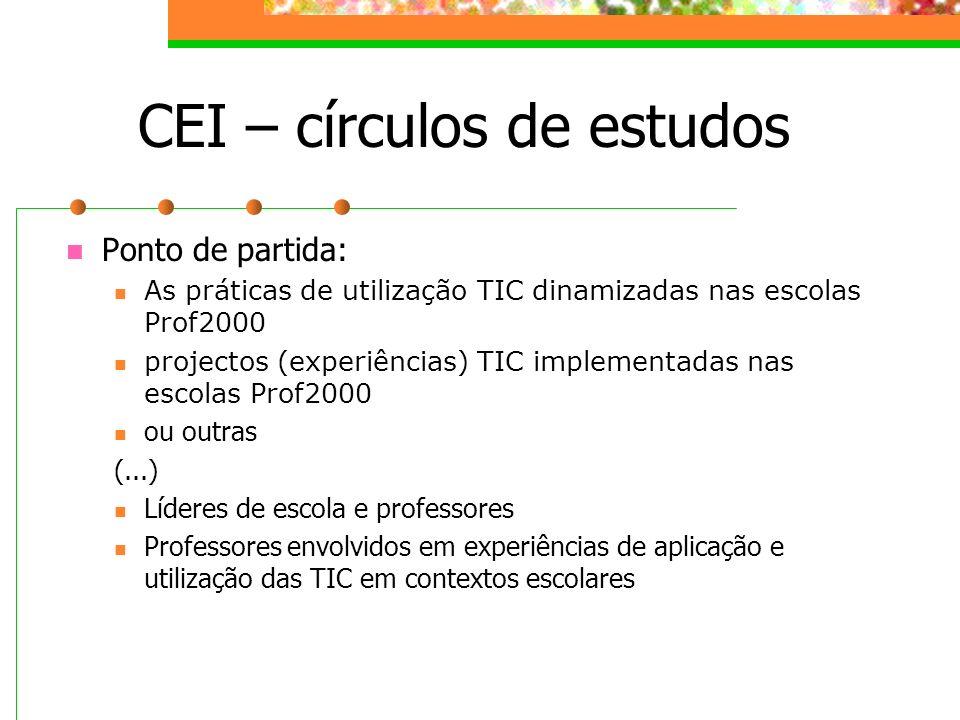 CEI – círculos de estudos Ponto de partida: As práticas de utilização TIC dinamizadas nas escolas Prof2000 projectos (experiências) TIC implementadas