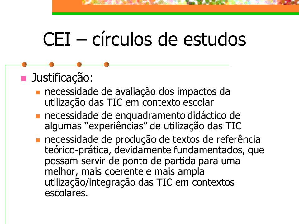 CEI – círculos de estudos Justificação: necessidade de avaliação dos impactos da utilização das TIC em contexto escolar necessidade de enquadramento d