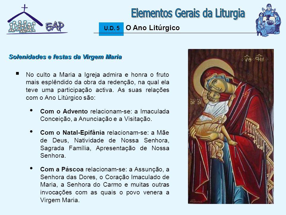 17 O Ano Litúrgico U.D. 5 O Ano Litúrgico No culto a Maria a Igreja admira e honra o fruto mais esplêndido da obra da redenção, na qual ela teve uma p