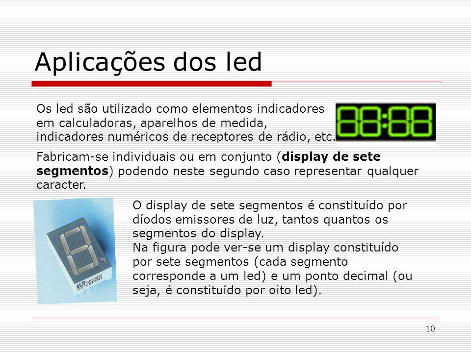 10 Aplicações dos led Os led são utilizado como elementos indicadores em calculadoras, aparelhos de medida, indicadores numéricos de receptores de rád