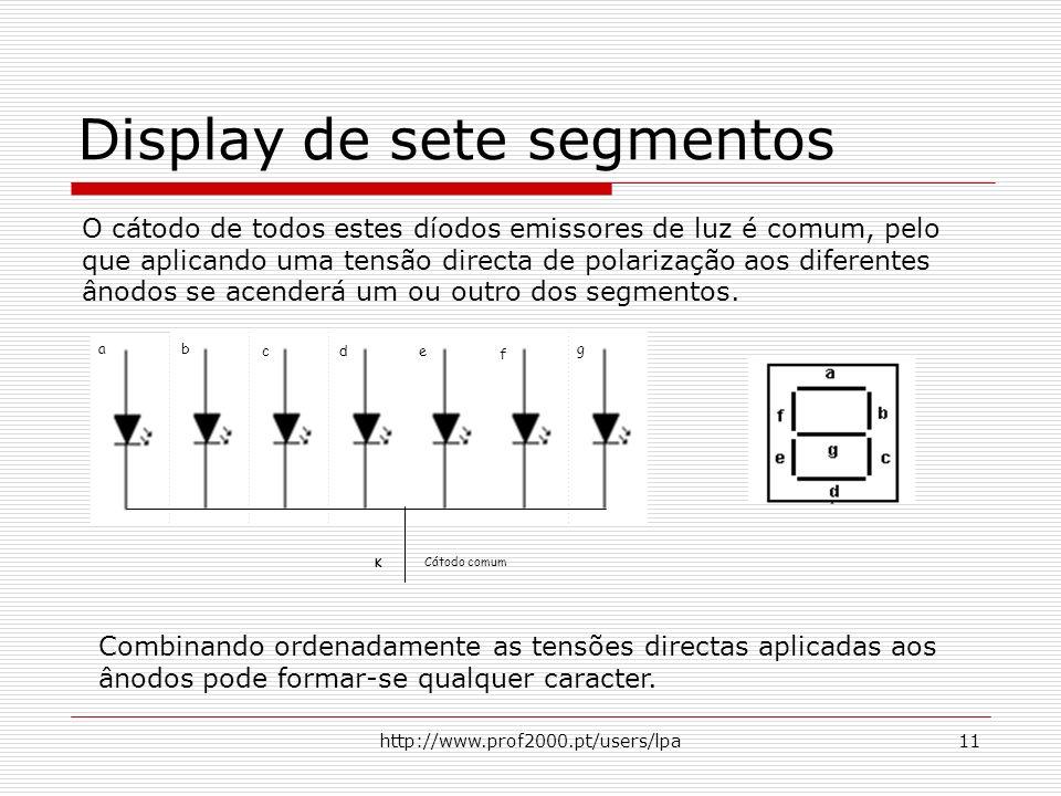 http://www.prof2000.pt/users/lpa11 Display de sete segmentos O cátodo de todos estes díodos emissores de luz é comum, pelo que aplicando uma tensão di