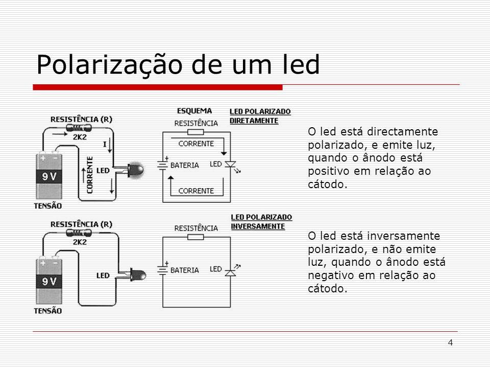 4 Polarização de um led O led está directamente polarizado, e emite luz, quando o ânodo está positivo em relação ao cátodo. O led está inversamente po