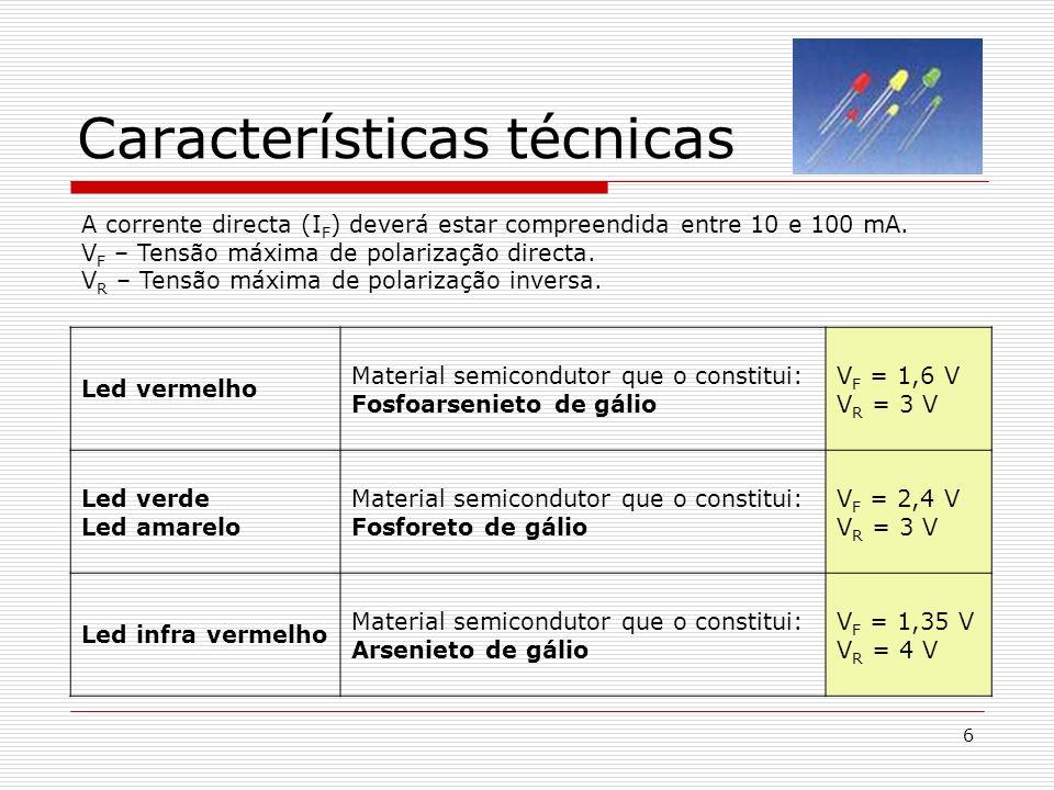 6 Características técnicas A corrente directa (I F ) deverá estar compreendida entre 10 e 100 mA. V F – Tensão máxima de polarização directa. V R – Te