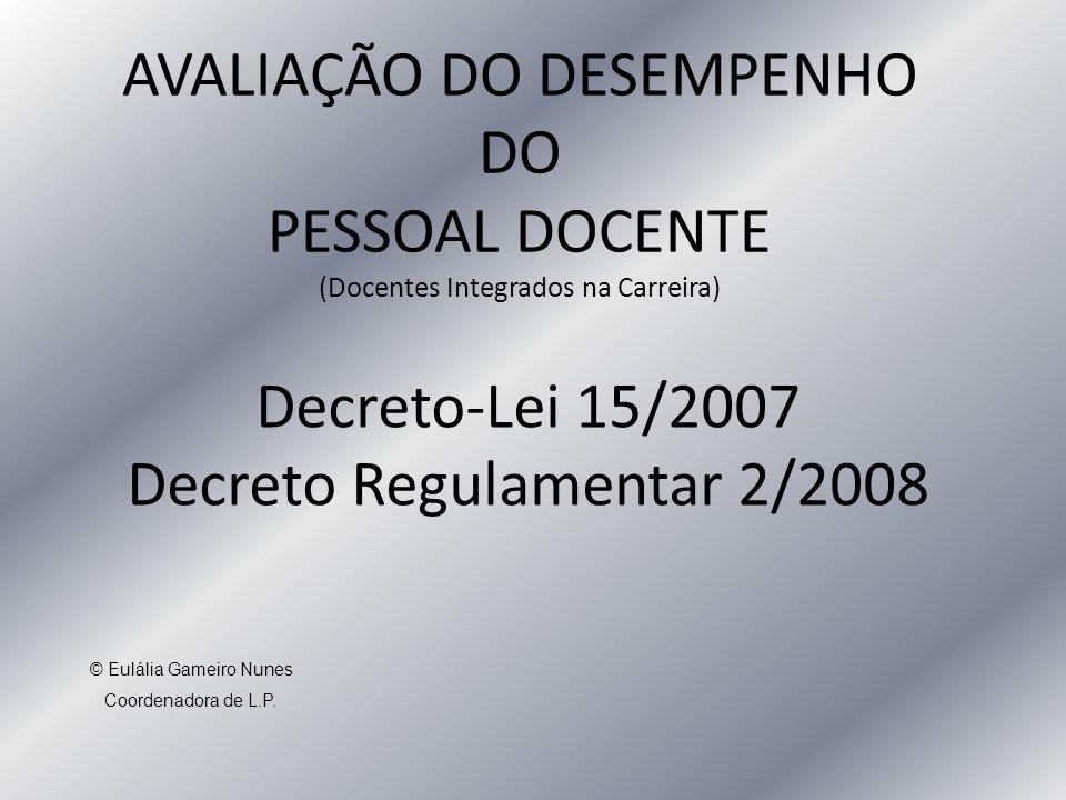 AVALIAÇÃO DO DESEMPENHO DO PESSOAL DOCENTE (Docentes Integrados na Carreira) Decreto-Lei 15/2007 Decreto Regulamentar 2/2008 © Eulália Gameiro Nunes Coordenadora de L.P.
