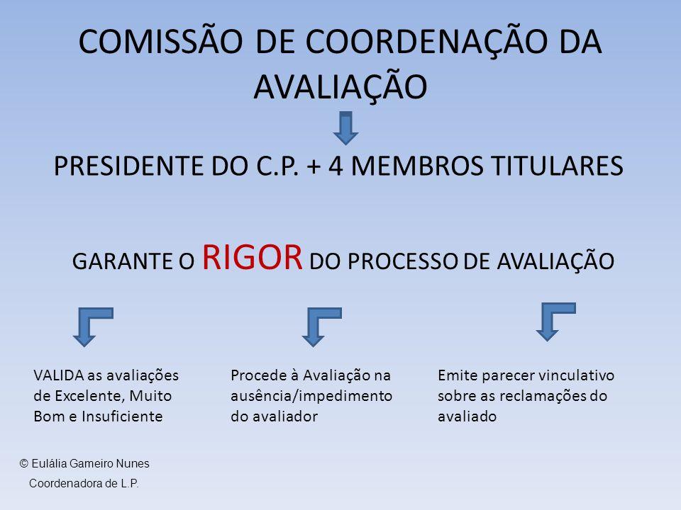 COMISSÃO DE COORDENAÇÃO DA AVALIAÇÃO PRESIDENTE DO C.P. + 4 MEMBROS TITULARES GARANTE O RIGOR DO PROCESSO DE AVALIAÇÃO VALIDA as avaliações de Excelen