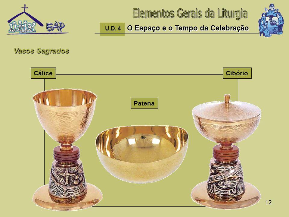 12 O Espaço e o Tempo da Celebração U.D. 4 O Espaço e o Tempo da Celebração CáliceCibório Patena Vasos Sagrados