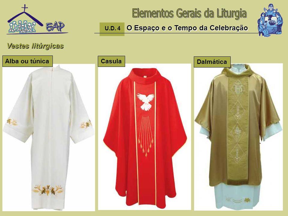 18 O Espaço e o Tempo da Celebração U.D. 4 O Espaço e o Tempo da Celebração Vestes litúrgicas Casula Alba ou túnica Dalmática