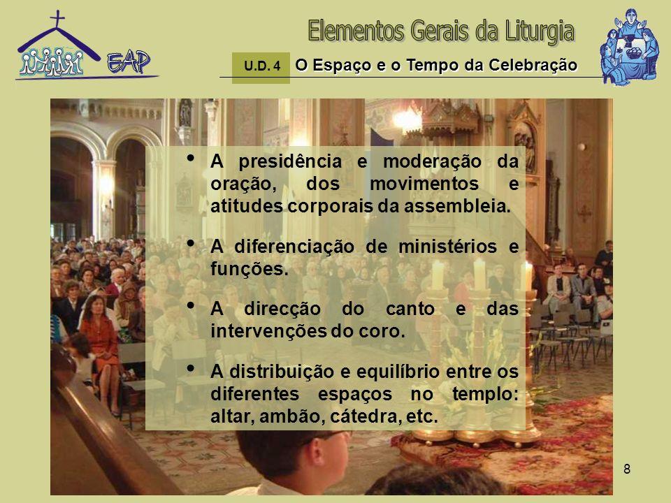8 A presidência e moderação da oração, dos movimentos e atitudes corporais da assembleia. A diferenciação de ministérios e funções. A direcção do cant