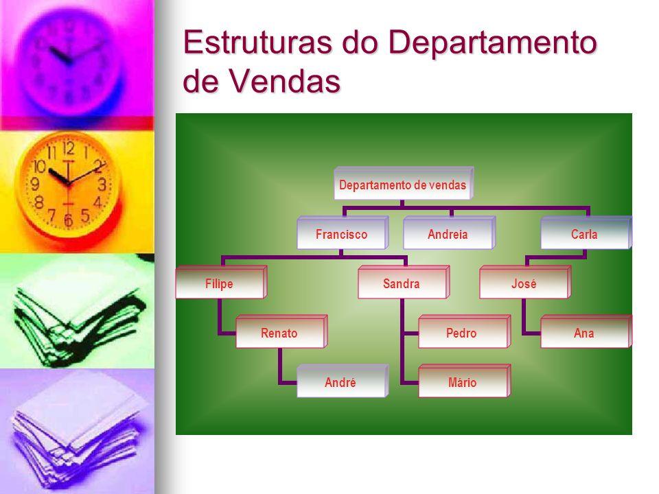 Estruturas do Departamento de Vendas Departamento de vendas Francisco Filipe Renato André Sandra Pedro Mário AndreiaCarla José Ana
