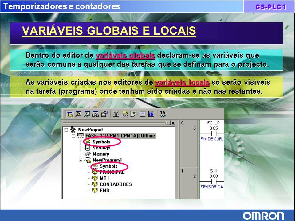 Temporizadores e contadores VARIÁVEIS GLOBAIS E LOCAIS Dentro do editor de variáveis globais declaram-se as variáveis que serão comuns a qualquer das