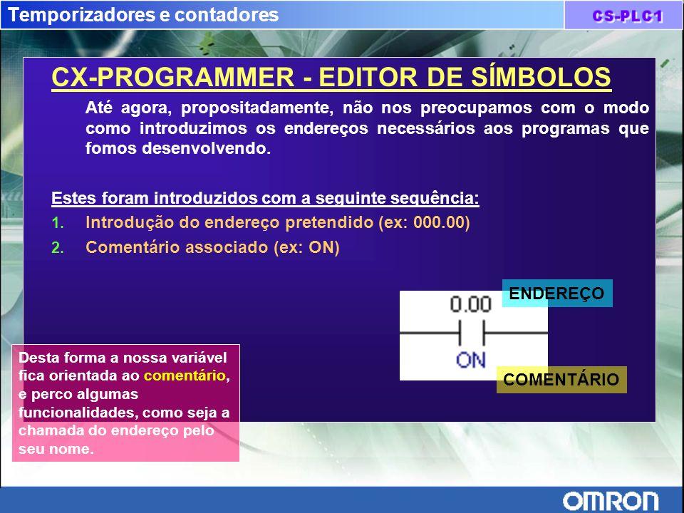 Temporizadores e contadores CX-PROGRAMMER - EDITOR DE SÍMBOLOS Até agora, propositadamente, não nos preocupamos com o modo como introduzimos os endere
