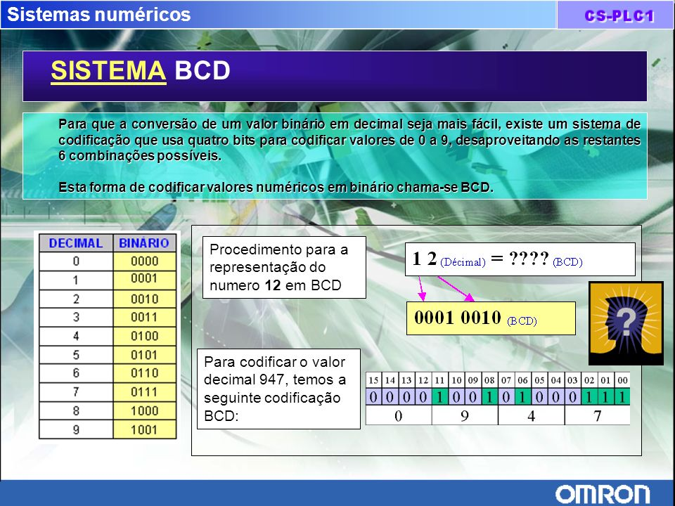 Sistemas numéricos SISTEMA BCD Para que a conversão de um valor binário em decimal seja mais fácil, existe um sistema de codificação que usa quatro bi