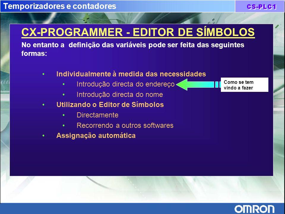 Temporizadores e contadores CX-PROGRAMMER - EDITOR DE SÍMBOLOS No entanto a definição das variáveis pode ser feita das seguintes formas: Individualmen