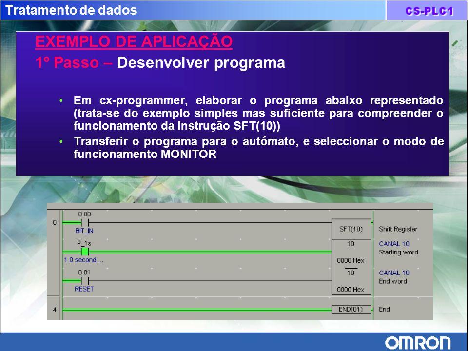 Tratamento de dados EXEMPLO DE APLICAÇÃO 1º Passo – Desenvolver programa Em cx-programmer, elaborar o programa abaixo representado (trata-se do exempl