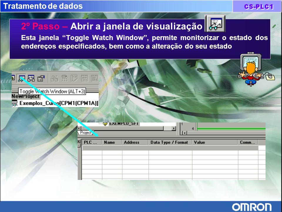 Tratamento de dados 2º Passo – Abrir a janela de visualização Esta janela Toggle Watch Window, permite monitorizar o estado dos endereços especificado