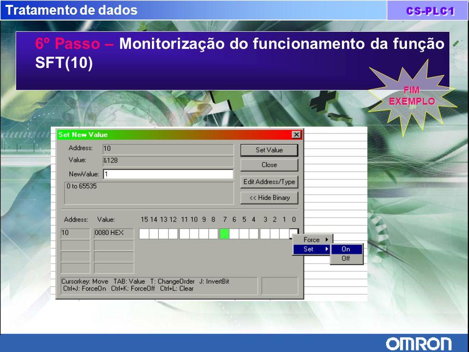 Tratamento de dados 6º Passo – Monitorização do funcionamento da função SFT(10) FIMEXEMPLO