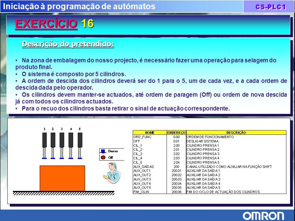 Iniciação à programação de autómatos EXERCÍCIO 16 Descrição do pretendido: Na zona de embalagem do nosso projecto, é necessário fazer uma operação par
