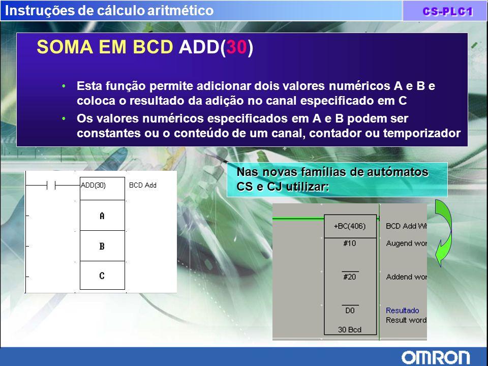 Instruções de cálculo aritmético SOMA EM BCD ADD(30) Esta função permite adicionar dois valores numéricos A e B e coloca o resultado da adição no cana