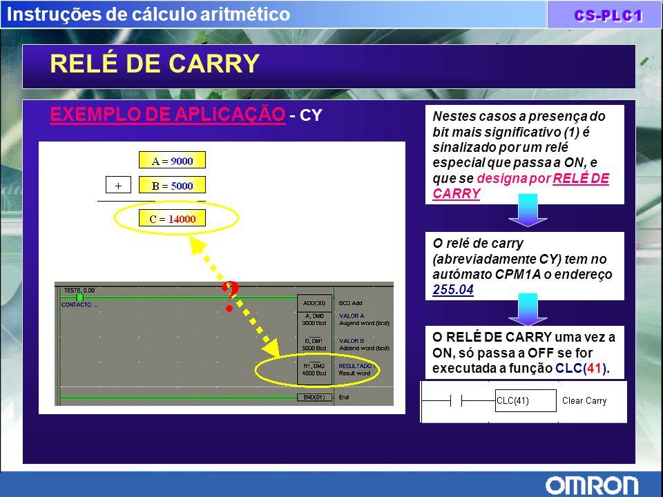 Instruções de cálculo aritmético RELÉ DE CARRY EXEMPLO DE APLICAÇÃO - CY Nestes casos a presença do bit mais significativo (1) é sinalizado por um rel