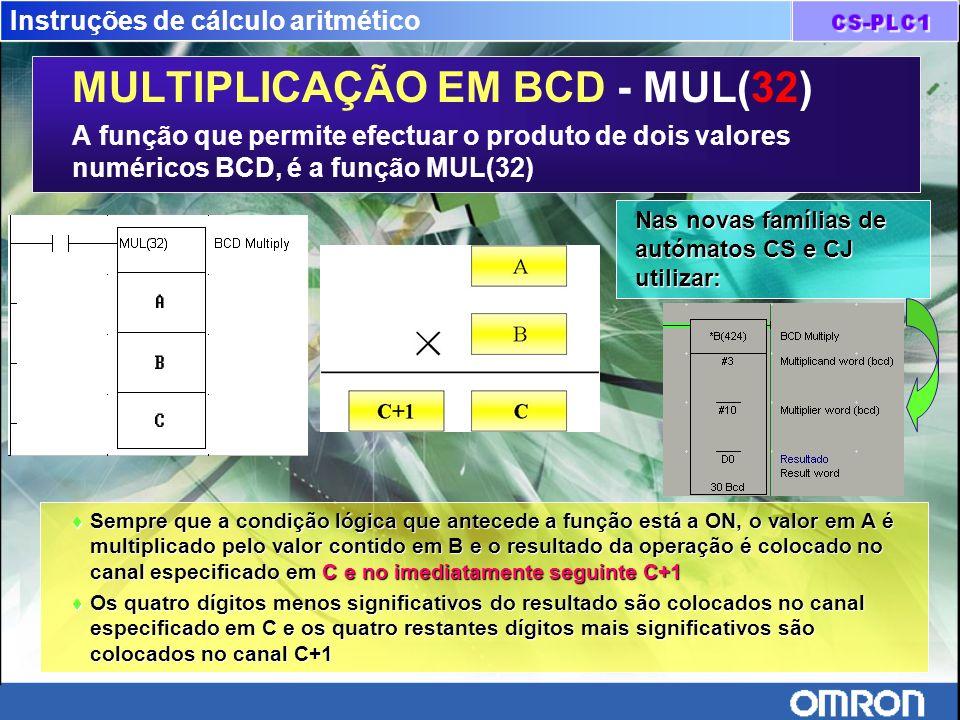 Instruções de cálculo aritmético MULTIPLICAÇÃO EM BCD - MUL(32) A função que permite efectuar o produto de dois valores numéricos BCD, é a função MUL(