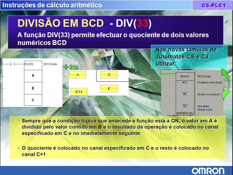 Instruções de cálculo aritmético DIVISÃO EM BCD - DIV(33) A função DIV(33) permite efectuar o quociente de dois valores numéricos BCD Sempre que a con