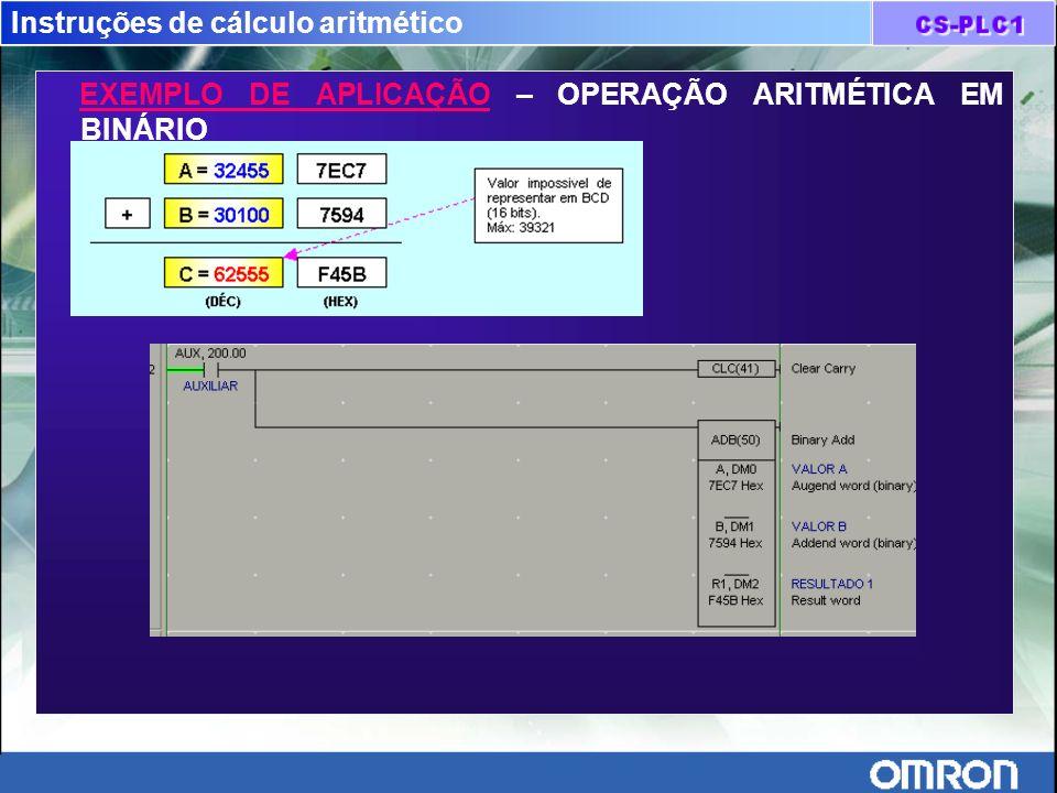 Instruções de cálculo aritmético EXEMPLO DE APLICAÇÃO – OPERAÇÃO ARITMÉTICA EM BINÁRIO