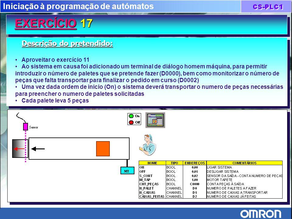 Iniciação à programação de autómatos EXERCÍCIO 17 Descrição do pretendido: Aproveitar o exercício 11 Ao sistema em causa foi adicionado um terminal de