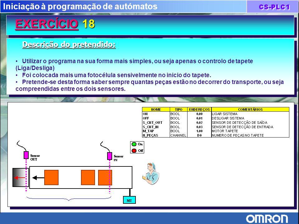Iniciação à programação de autómatos EXERCÍCIO 18 Descrição do pretendido: Utilizar o programa na sua forma mais simples, ou seja apenas o controlo de