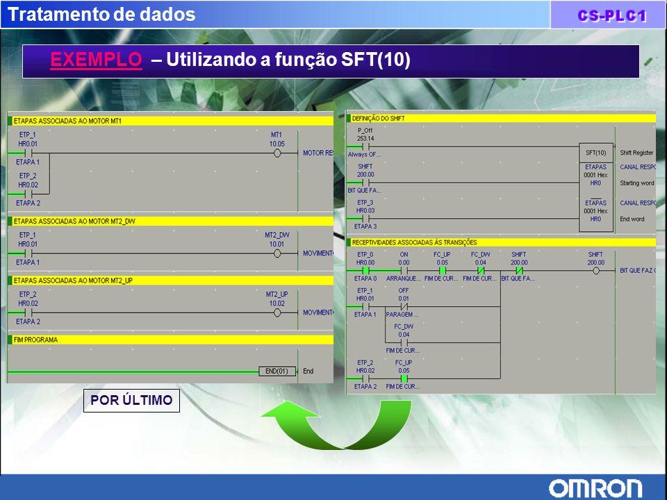 Tratamento de dados EXEMPLO – Utilizando a função SFT(10) POR ÚLTIMO