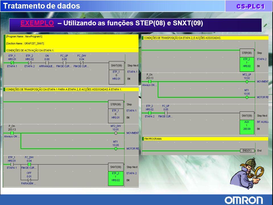 Tratamento de dados EXEMPLO – Utilizando as funções STEP(08) e SNXT(09)