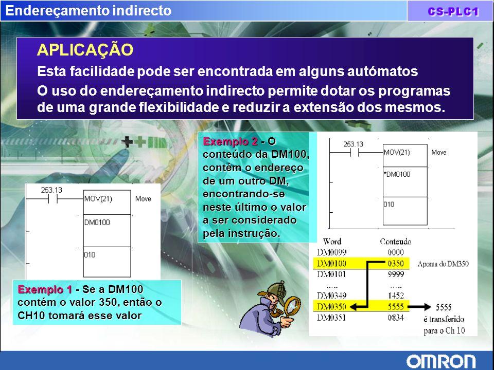 Endereçamento indirecto APLICAÇÃO Esta facilidade pode ser encontrada em alguns autómatos O uso do endereçamento indirecto permite dotar os programas
