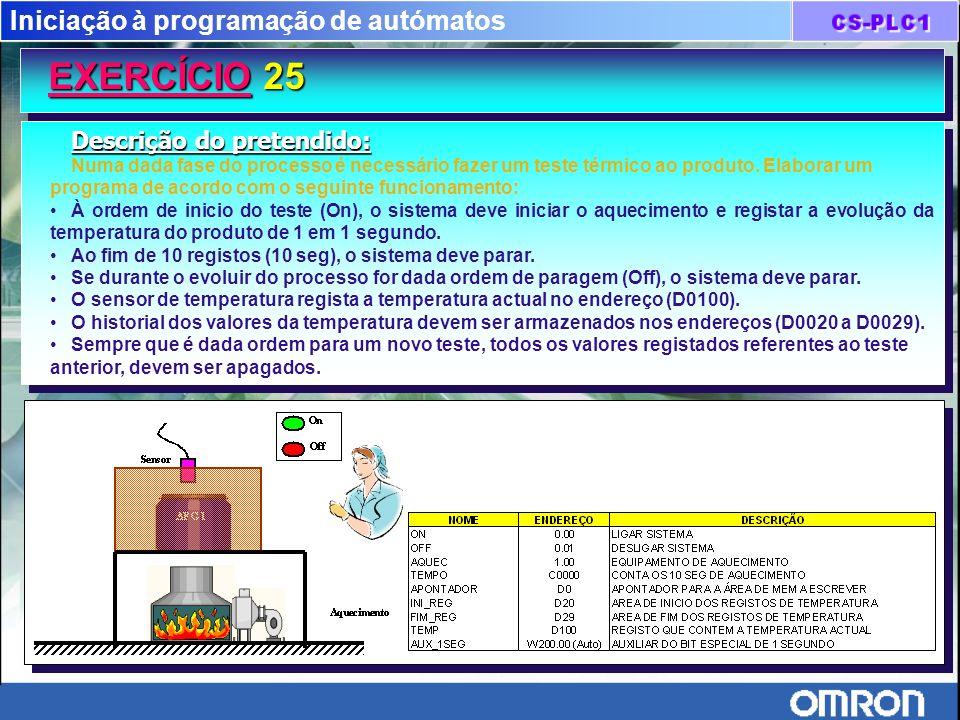 Iniciação à programação de autómatos EXERCÍCIO 25 Descrição do pretendido: Numa dada fase do processo é necessário fazer um teste térmico ao produto.
