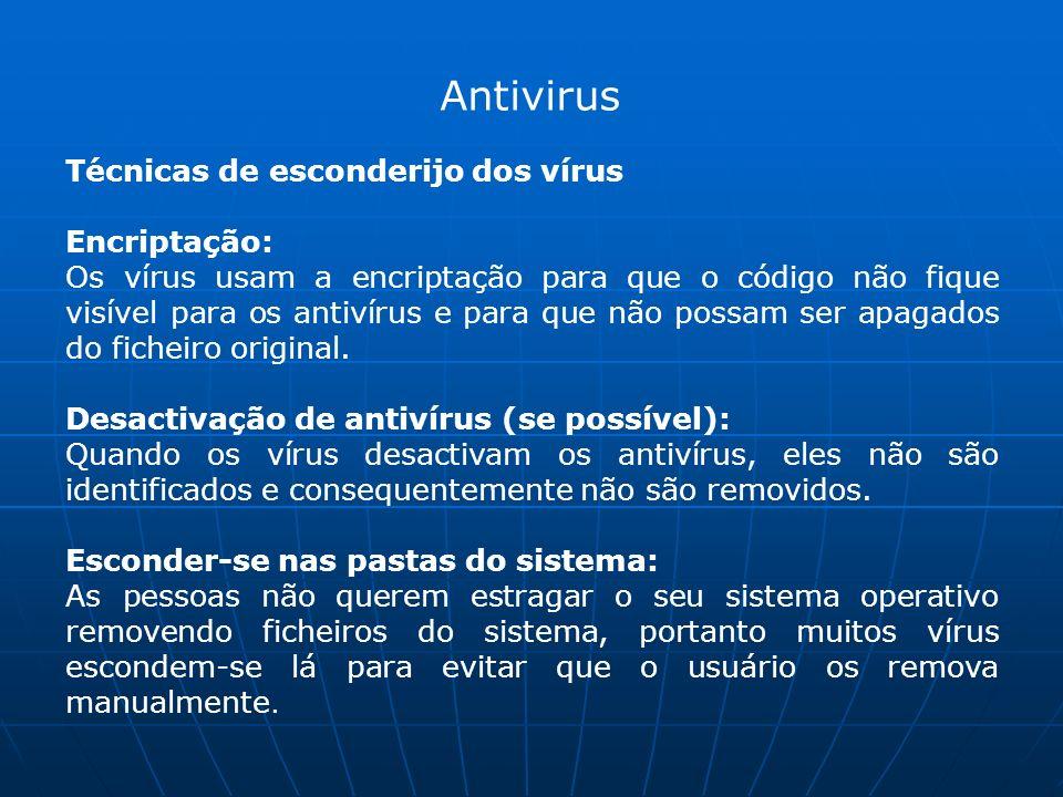 Antivirus Técnicas de esconderijo dos vírus Encriptação: Os vírus usam a encriptação para que o código não fique visível para os antivírus e para que não possam ser apagados do ficheiro original.