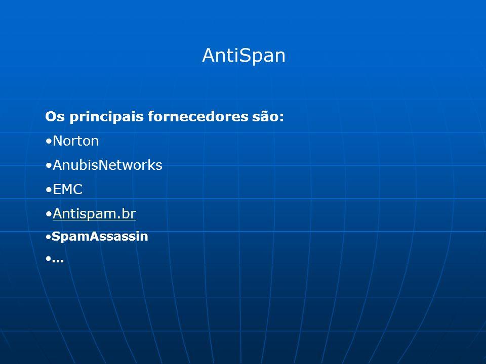 AntiSpan Os principais fornecedores são: Norton AnubisNetworks EMC Antispam.br SpamAssassin …